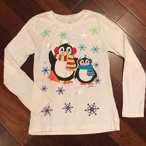 Justice white long sleeve penguin shirt